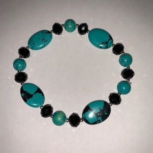 Acrylic and Glass Faux Turquoise Bracelet